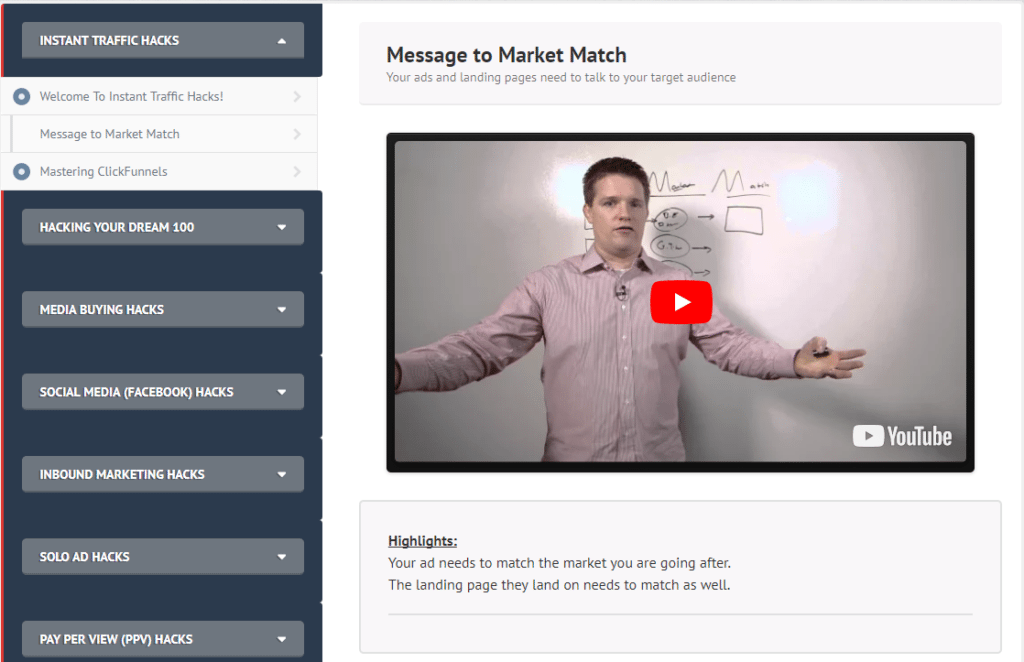 Instant Traffic Hacks message to market match