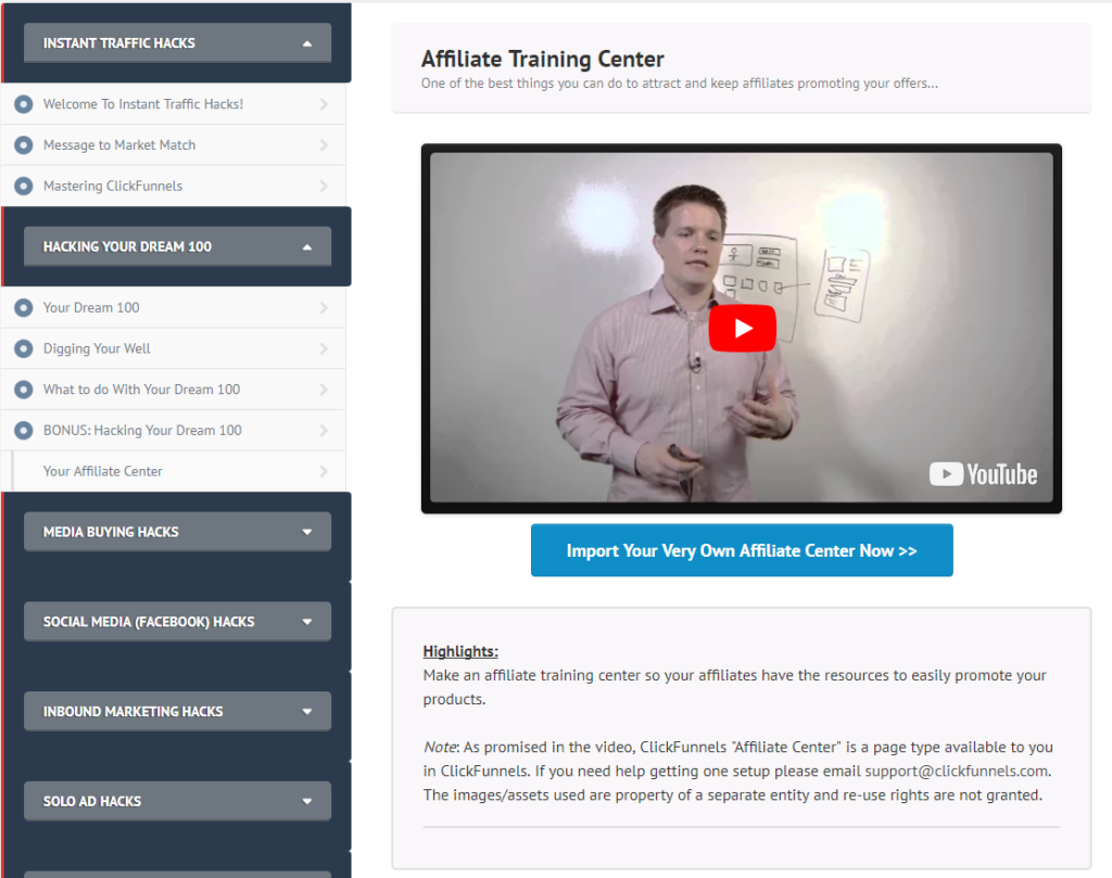 Funnelhacks review affiliate center