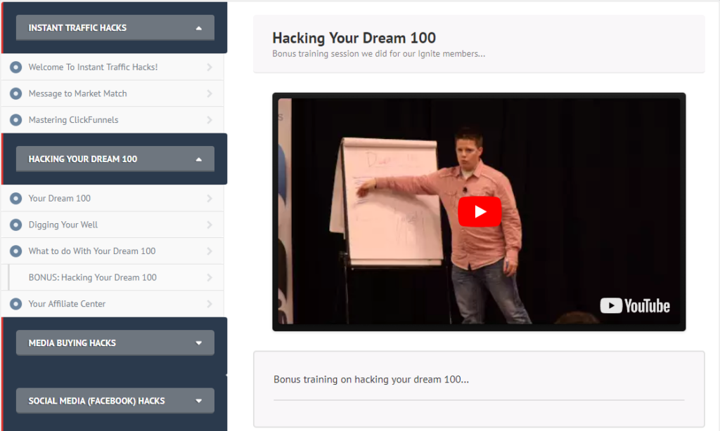 Instant Traffic Hacks review hacking your dream 100