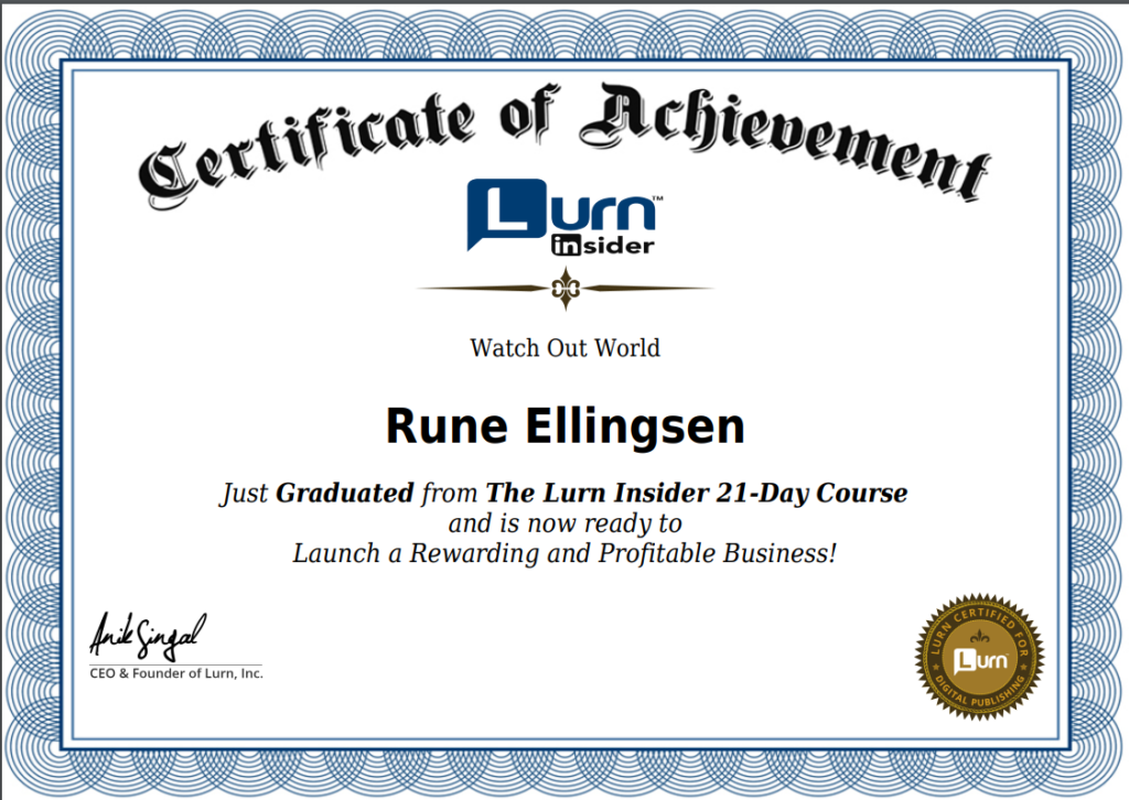 lurn insider review certificate